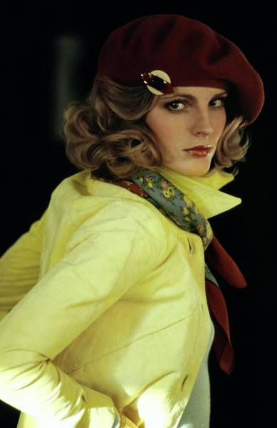 Yellow Background Photograph - Model Wearing A Yellow Antelope Jacket by Arthur Elgort