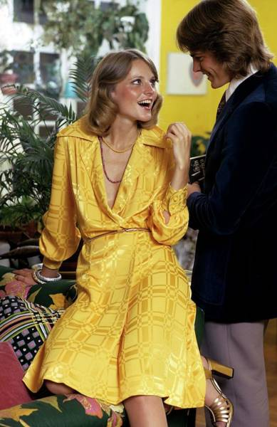 Woo Photograph - Model Wearing A Yellow Dress by William Connors