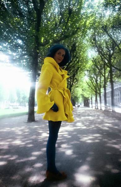 Wall Art - Photograph - Model Wearing A Yellow Kenzo Coat by Arnaud de Rosnay