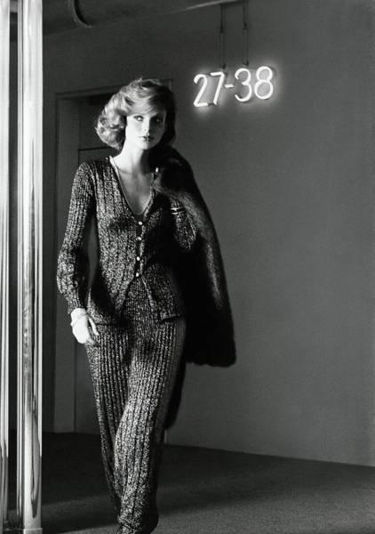 Sign Photograph - Model Wearing An Eleanor Brenner Ensemble by Kourken Pakchanian