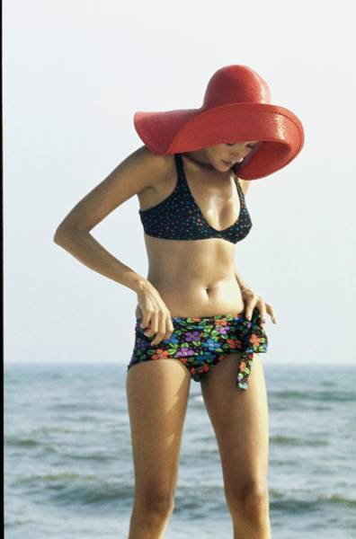 Summer Landscape Photograph - Model Wearing An Ungaro Bikini by Bert Stern