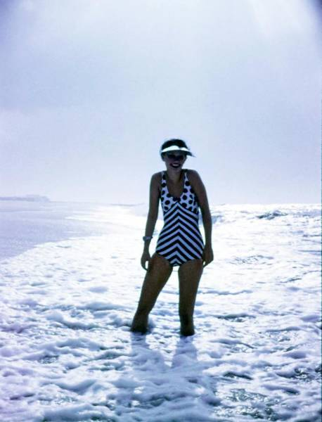 Swimsuit Photograph - Model Wearing An Ungaro Swimsuit by Bert Stern