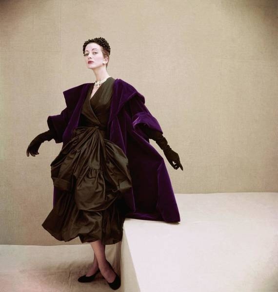 Paper Dress Photograph - Model Wearing Balenciaga's Tissue-paper Taffeta by Henry Clarke