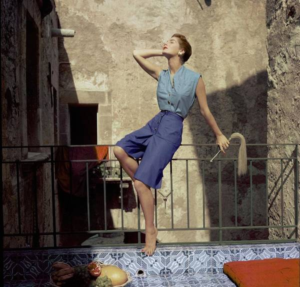 Blue Photograph - Model Wearing Blue Culottes And A Sea-green Shirt by Henry Clarke
