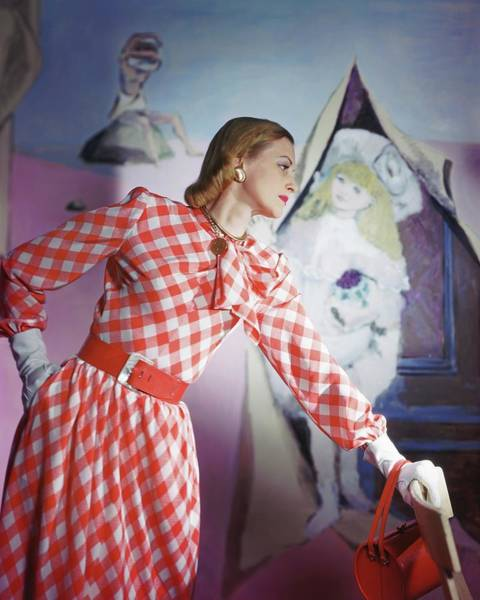 Wall Art - Photograph - Model Wearing Checked Dress by Horst P. Horst