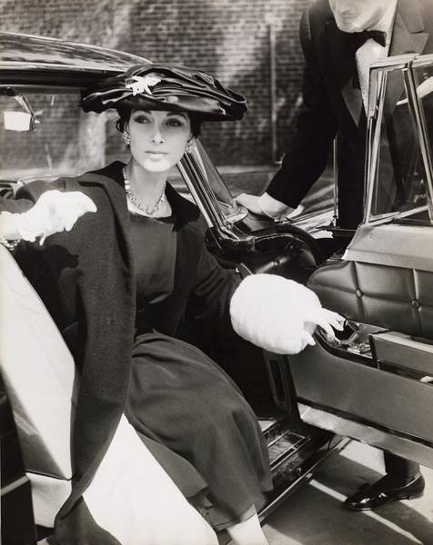 Ermine Wall Art - Photograph - Model Wearing Coat And Hat In Car by Horst P. Horst