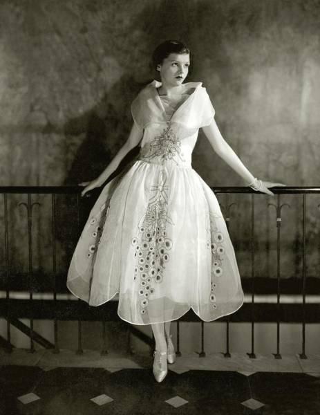 Scallop Photograph - Model Wearing Dress By Lanvin by Edward Steichen