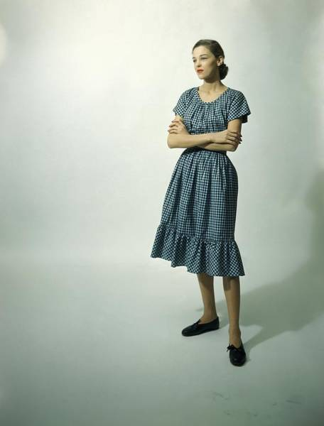 Red Cross Photograph - Model Wearing Dress By Mckettrick by Frances McLaughlin-Gill