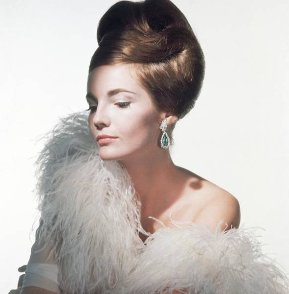 Down Feather Photograph - Model Wearing Feather Boa And Earrings by Horst P. Horst