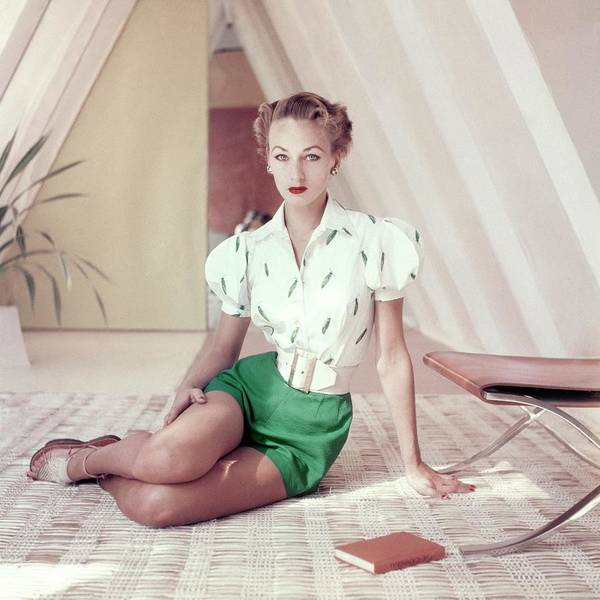 Short Cut Photograph - Model Wearing Green Shorts And An Embroidered by Frances McLaughlin-Gill