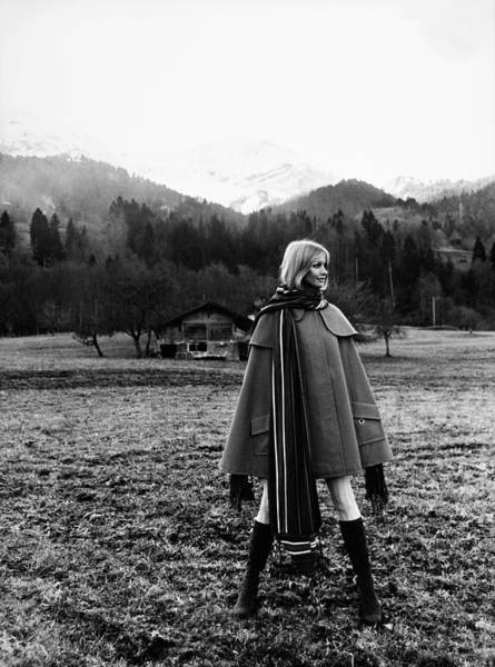 Countryside Photograph - Model Wearing Mainstreet Fashions Cape by Franco Rubartelli