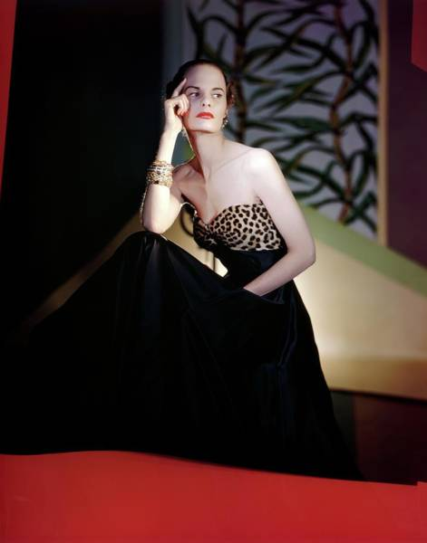 Wall Art - Photograph - Model Wearing Maurice Rentner Dress by Horst P. Horst