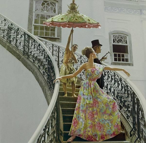 Rio De Janeiro Photograph - Model Wearing Nat Kaplan Dress On Staircase by Henry Clarke