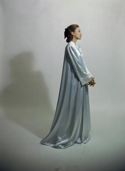 Blue Gown Photograph - Model Wearing Nightgown by Frances McLaughlin-Gill