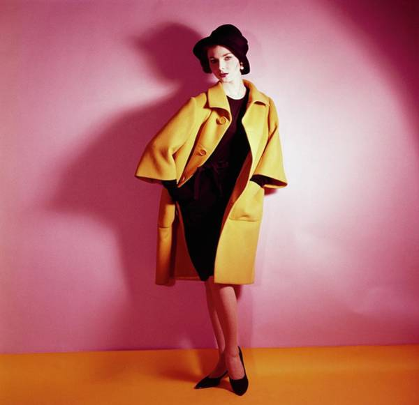 Yellow Background Photograph - Model Wearing Norman Norell Ensemble by Horst P. Horst
