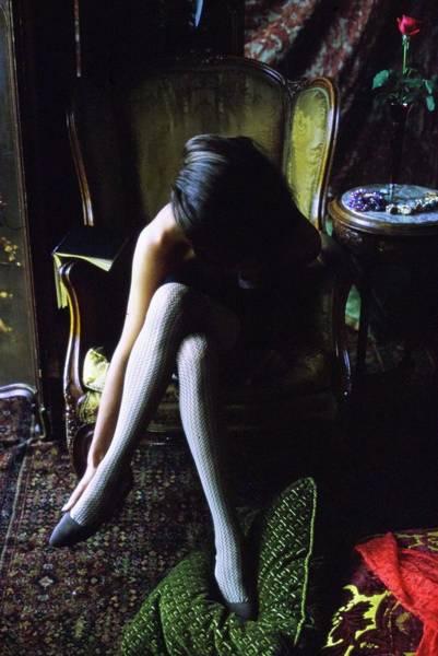 Bending Over Photograph - Model Wearing Nylon Stockings by Art Kane