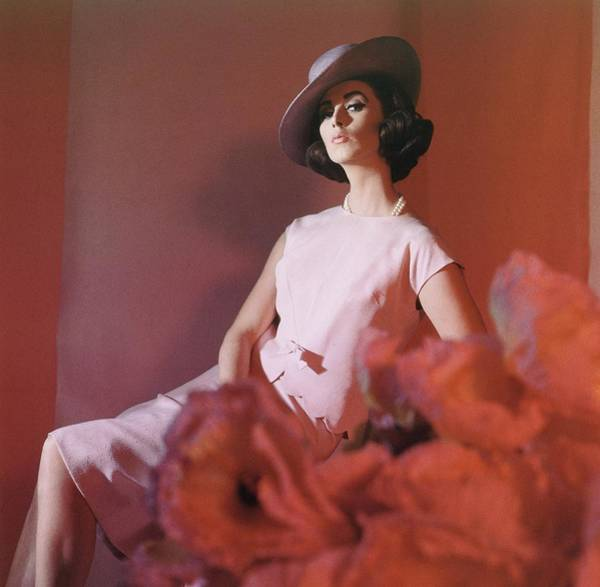 Photograph - Model Wearing Pink Ensemble With Hat by Horst P. Horst