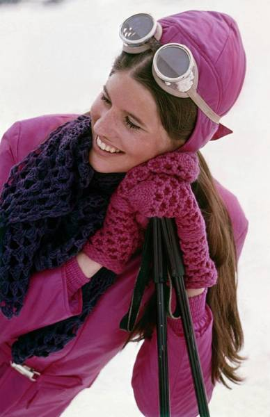 Snow Photograph - Model Wearing Pink Ski Cap by William Connors