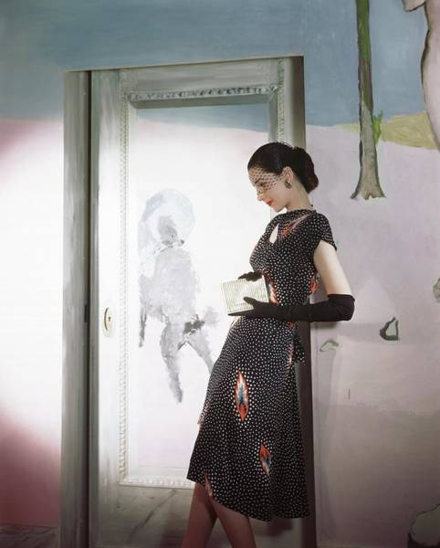 Wall Art - Photograph - Model Wearing Print Dress By Marcel Vertes Mural by Horst P. Horst