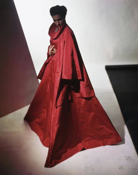 Wall Art - Photograph - Model Wearing Red Coat By Elizabeth Arden by Horst P. Horst