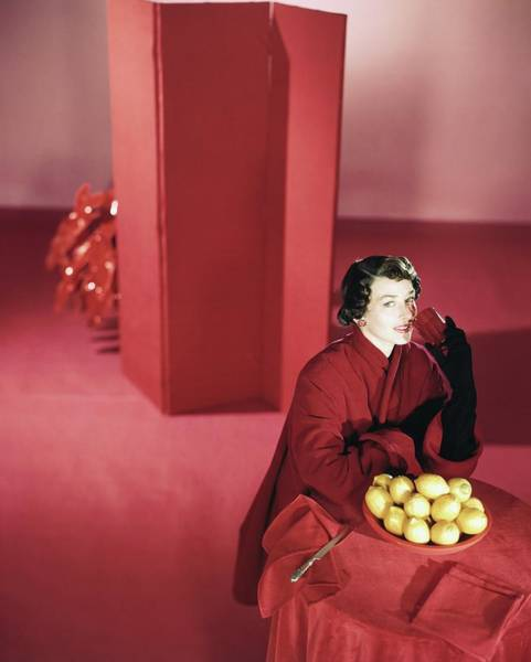 Screen Photograph - Model Wearing Red Coat By Lemons by Horst P. Horst