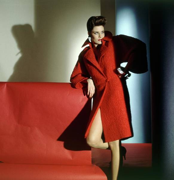 Photograph - Model Wearing Red Coat by Horst P. Horst