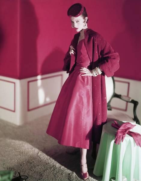 Wall Art - Photograph - Model Wearing Red Dress By Nettie Rosenstein by Horst P. Horst