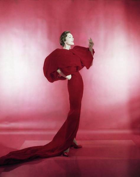 Train Photograph - Model Wearing Red Evening Dress by Horst P. Horst