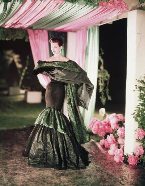 Canopy Photograph - Model Wearing Ruffled Dress And Wrap by Horst P. Horst