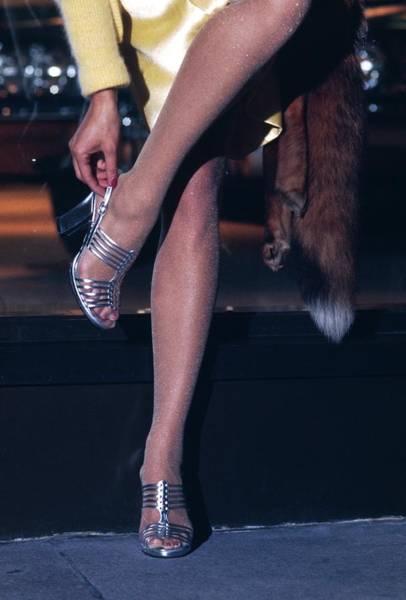 1972 Photograph - Model Wearing Silver Heels By Customcraft By Rossi by Kourken Pakchanian