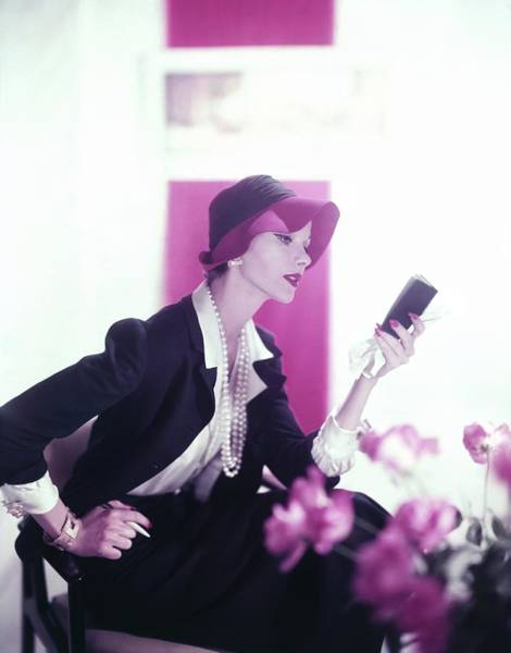 Reading Photograph - Model Wearing Suit And Hat by Horst P. Horst