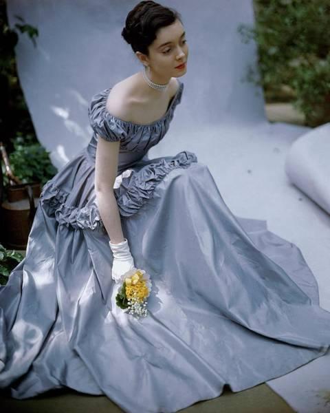 Purple Flower Photograph - Model Wearing Taffeta Gown by Frances McLaughlin-Gill