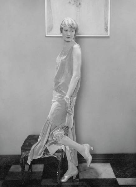 Tile Floor Photograph - Model Wearing Velvet Evening Gown by Edward Steichen