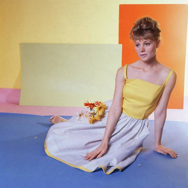 Yellow Flower Photograph - Model Wearing White And Yellow Dress by Horst P. Horst
