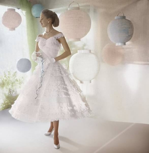 Paper Dress Photograph - Model Wearing White Dress By Lanterns by Horst P. Horst