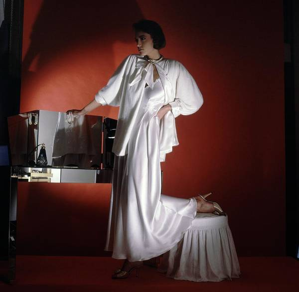 Dressing Photograph - Model Wearing White Nightgown And Jacket by Horst P. Horst