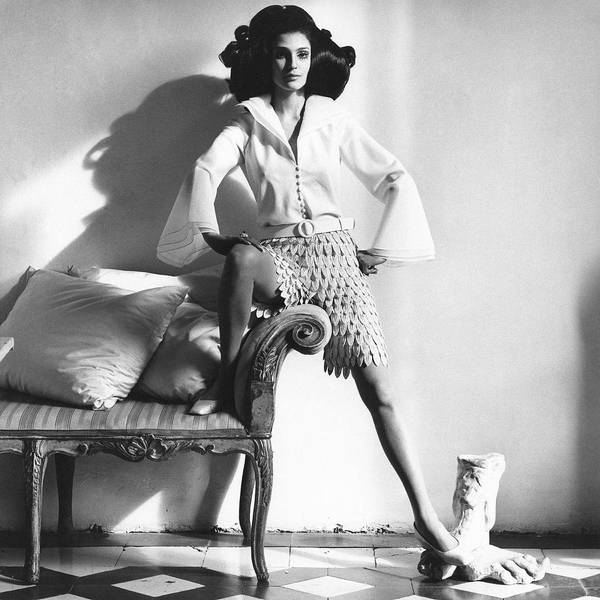 Antique Furniture Photograph - Model Wears Layered Leaf Fabric Shorts by Henry Clarke
