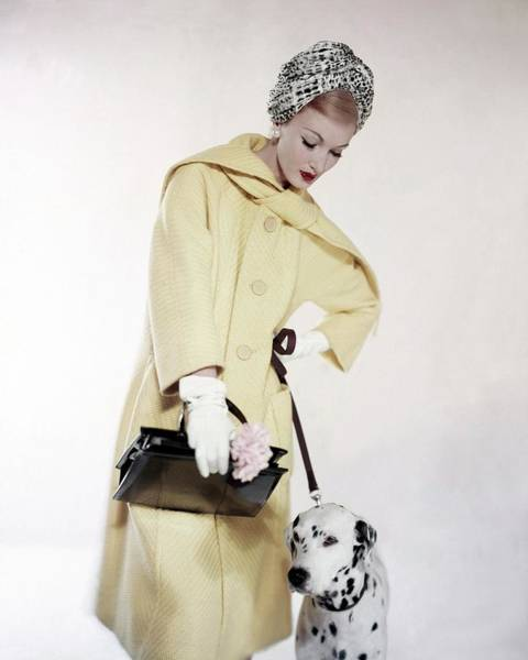 Red Coat Photograph - Model With A Dalmatian by Karen Radkai
