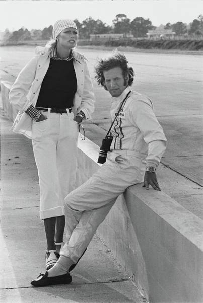 Auto Photograph - Model With Hurley Haywood At Sebring Race Track by Kourken Pakchanian