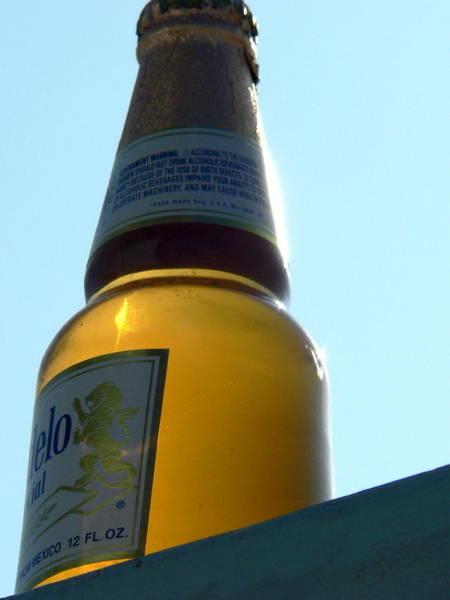 Photograph - Modelo Beer Bottle Sunset by Jeff Lowe
