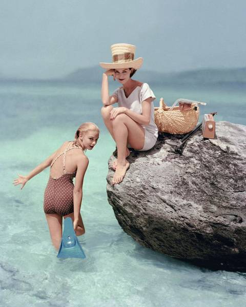 Young Woman Photograph - Models At A Beach by Richard Rutledge