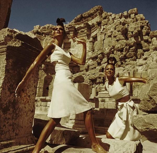 Jerash Photograph - Models At Nymphaeum by Henry Clarke