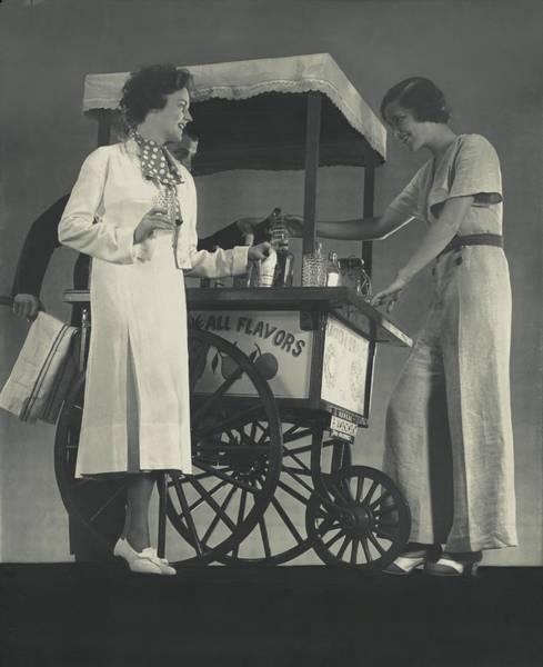 Pajamas Photograph - Models Beside A Hot Dog Wagon by Edward Steichen