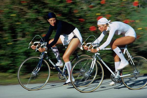 Cycling Photograph - Models Cycling In Headscarves by Kourken Pakchanian
