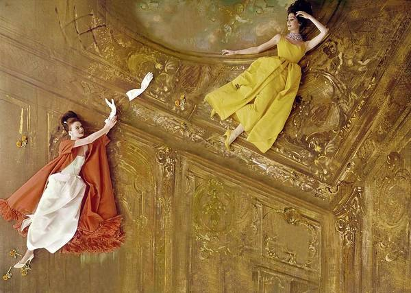 Lanvin Photograph - Models Flying Against A Baroque Ceiling by Henry Clarke