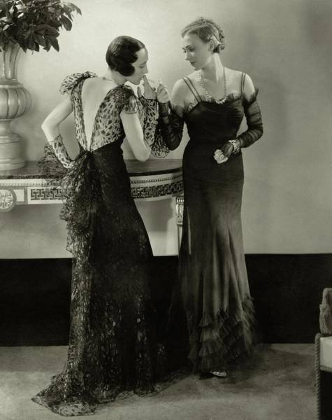 Evening Photograph - Models In Evening Gowns by Edward Steichen