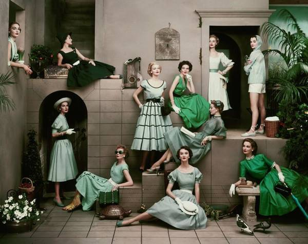 Young Woman Photograph - Models In Various Green Dresses by Frances Mclaughlin-Gill