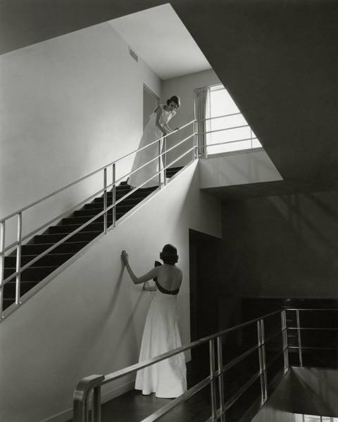 Window Photograph - Models On A Staircase by Edward Steichen