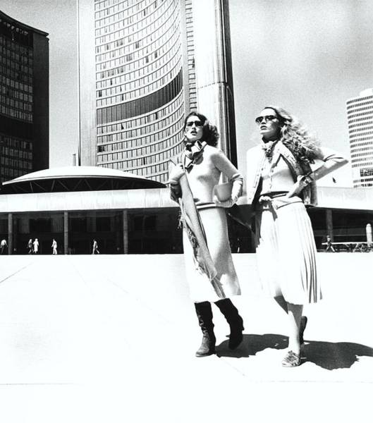 Wall Art - Photograph - Models Walking By City Hall Plaza In Toronto by Albert Watson