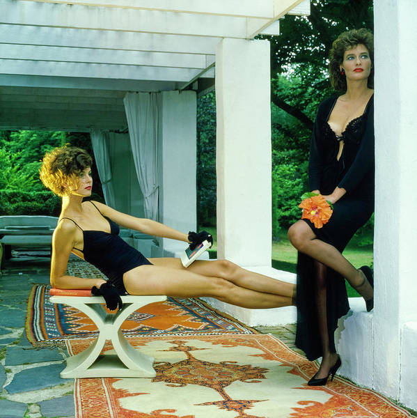 Patio Photograph - Models Wearing A Swimsuit And Lingerie On A Patio by Horst P. Horst